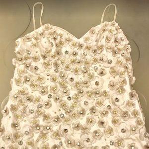 Musani off white, short dress w/ stunning crystals